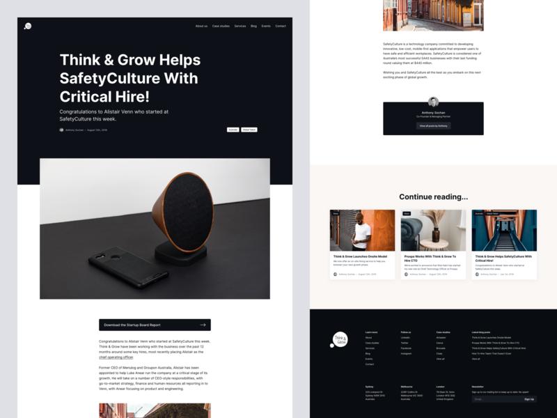 Think & Grow website redesign – Blog post blog post blog desktop website web minimal clean simple ux ui
