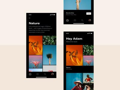 Photography app list details home screen grid gallery photography dark mode app mobile minimal clean simple ux ui