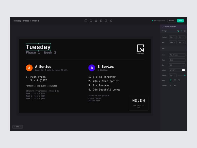 Gym monitor CMS builder editor web app desktop website web minimal clean simple ux ui