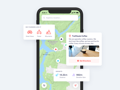 RunHunters app map app mobile minimal clean simple ux ui