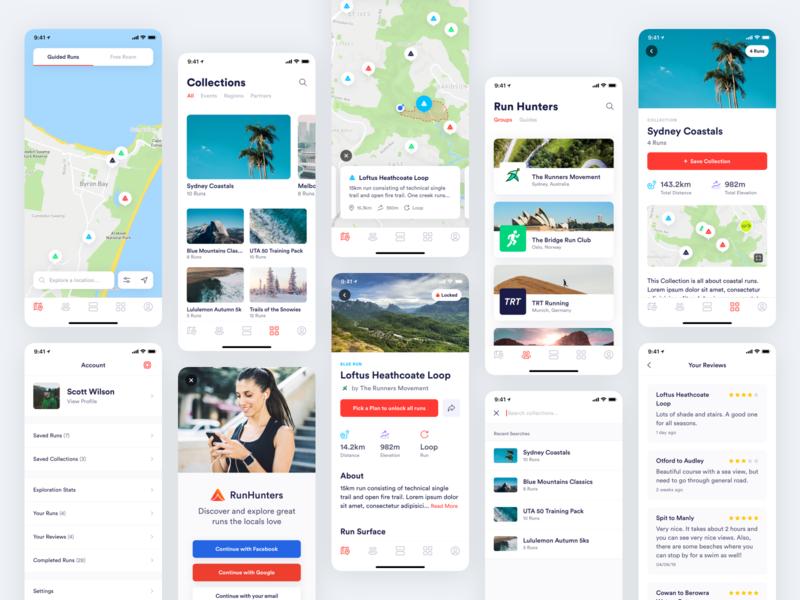 RunHunters app list map app mobile minimal clean simple ux ui