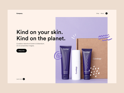 Skincare website concept landing page skincare desktop website web minimal clean simple ux ui