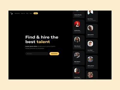 Talent Landing Page landing page homepage desktop website web minimal clean simple ux ui