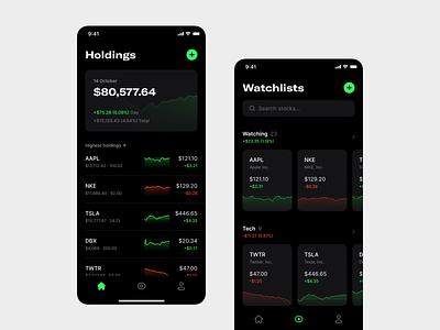 Stocks dashboard list dark mode finance stocks app mobile minimal clean simple ux ui