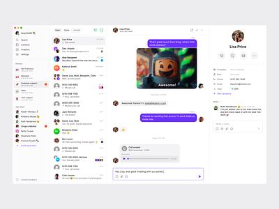 Inbox view web desktop calling phone chat app messaging saas app app ux ui simple minimal clean