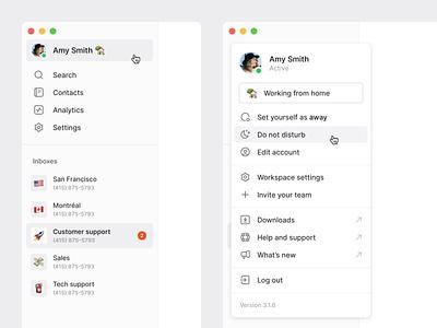 Side menu menu side menu sidebar web desktop calling phone chat app messaging saas app app ux ui simple minimal clean
