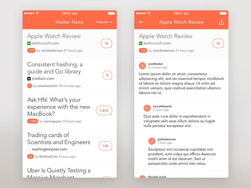 Hacker News iPhone App freelance hacker news list comments ui app iphone ios