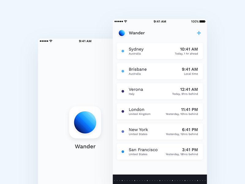 Wander - Beautiful World Time App timezones world clock world time ios minimal simple app ux ui