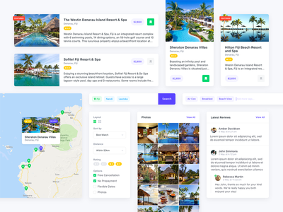 Travel UI Elements search filter holiday travel cards minimal simple web app ux ui