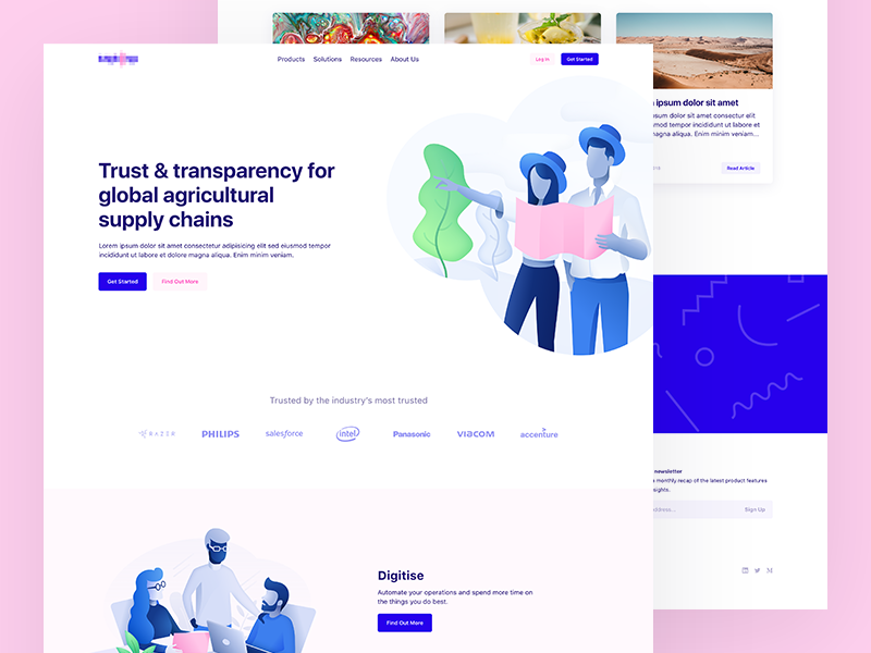 Landing Page illustrations landing page website minimal simple web ux ui
