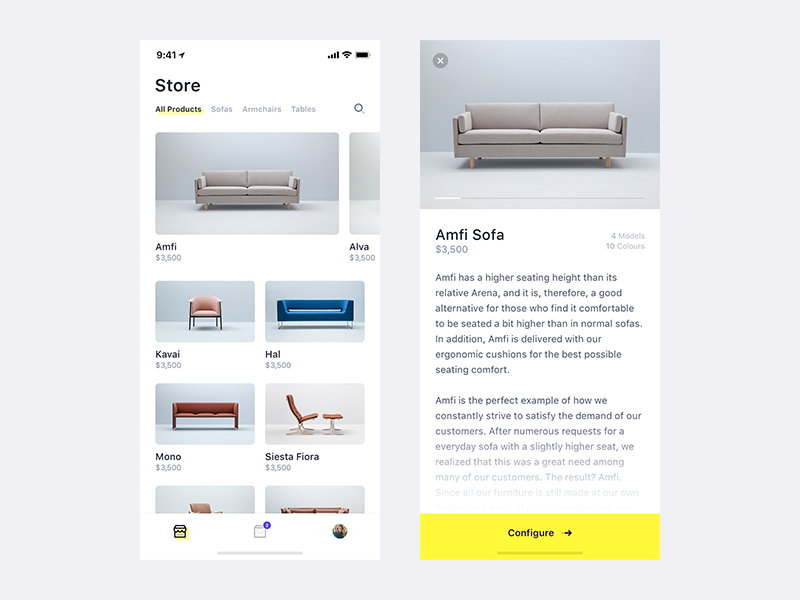 Minimal Shopping App scandinavian ecommerce shop ios minimal simple app ux ui