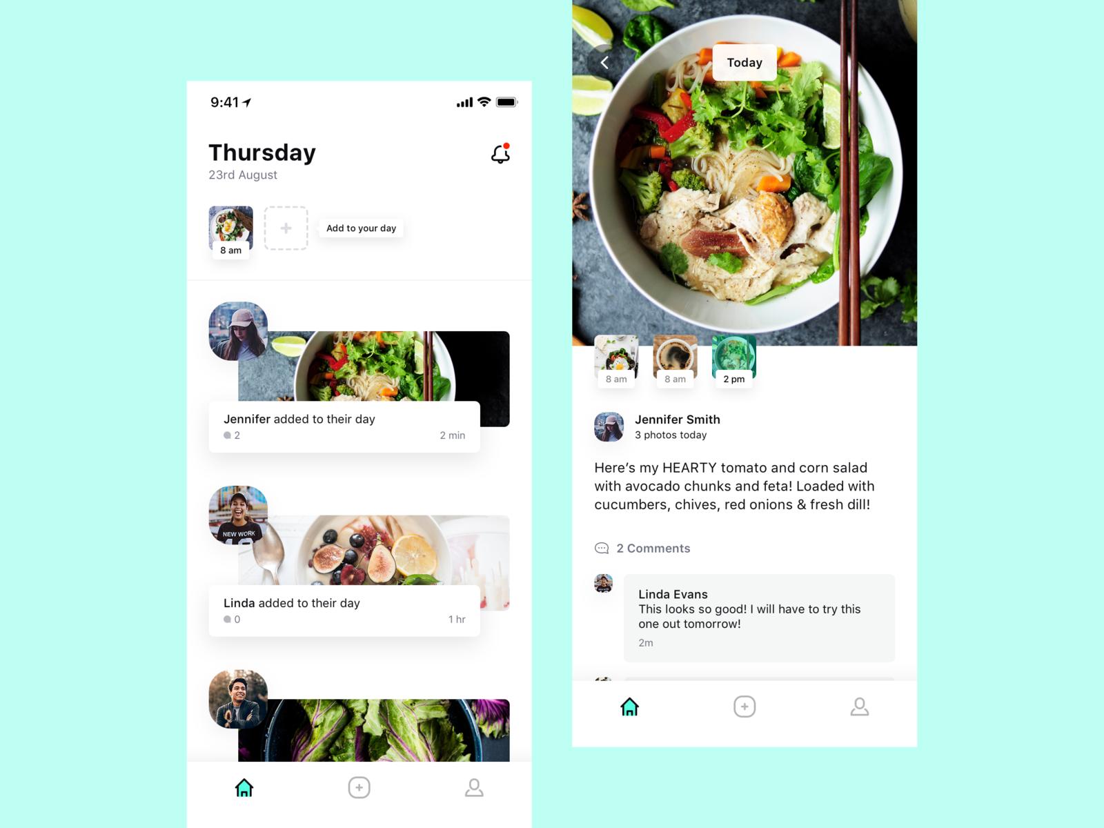 Upkeep - Food Diary App feed social diary food minimal mobile ios clean simple app ux ui