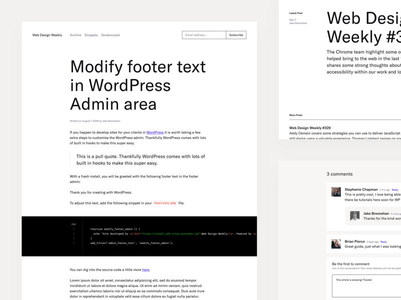 Web Design Weekly Redesign ui ux simple clean minimal web blog wordpress theme