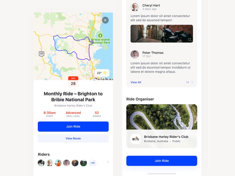 Ride App – Event Details Screen event app map motorbike ride ios app mobile minimal clean simple ux ui
