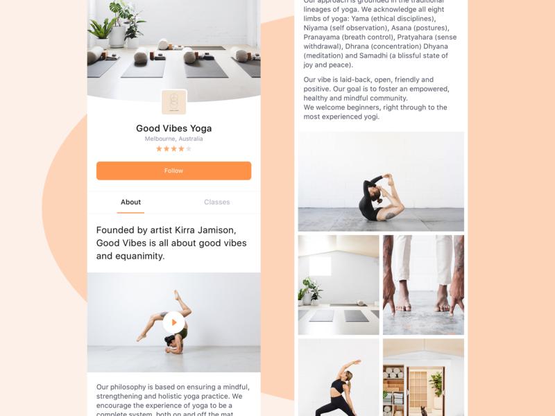 Fittever App ui ux simple clean minimal mobile app ios yoga fitness list classes