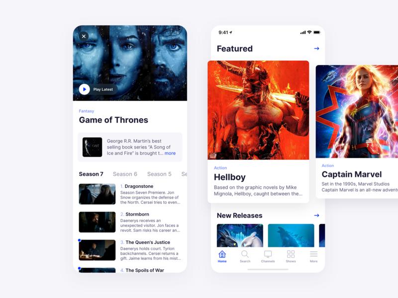 TV Streaming App apple list media movies ios app mobile minimal clean simple ux ui