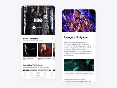 TV Streaming App tv ui ux simple clean minimal mobile app ios movies media list apple