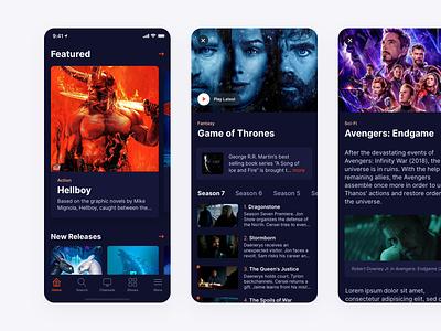 TV Streaming App - Dark Mode dark mode apple list media movies ios app mobile minimal clean simple ux ui tv