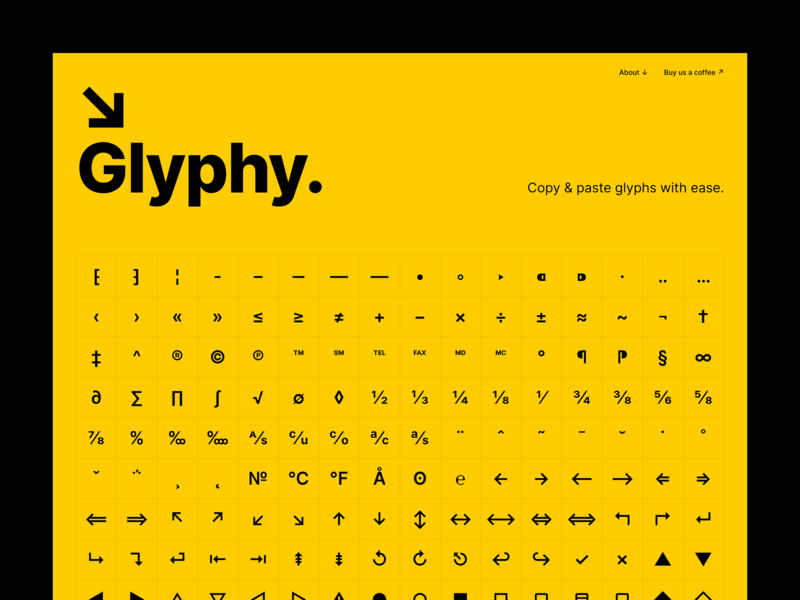 Glyphy - copy & paste glyphs with ease typography glyph desktop website web minimal clean simple ux ui