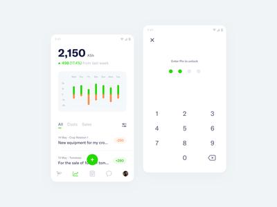 FarmSmart – Profit & Loss finances dashboard management farming app mobile minimal clean simple ux ui