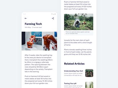 FarmSmart – Articles articles blog management farming app mobile minimal clean simple ux ui