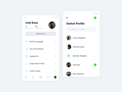 FarmSmart – Profile profile management farming app mobile minimal clean simple ux ui