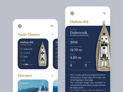 Mobile Yacht Explorer branding design web website travel agency nautica yachting concept user interface mobile minimal typography ui ux