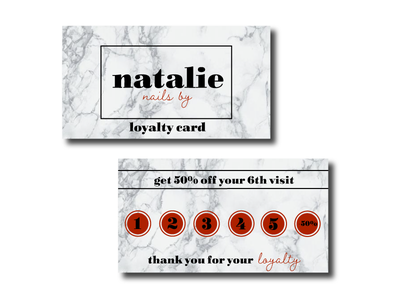Nails By Natalie Loyalty Cards loyalty card nails logo design branding graphic design