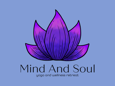 Mind And Soul logo yoga lotus flower graphic design branding