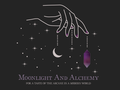 Moonlight And Alchemy aesthetic cosmic crystals hand design graphic design branding