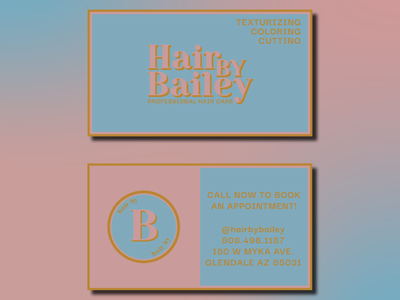 Hair By Bailey Business Cards feminine minimal buisness card logo graphic design branding