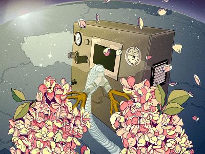 Breathe health promotional conceptual digital illustraion