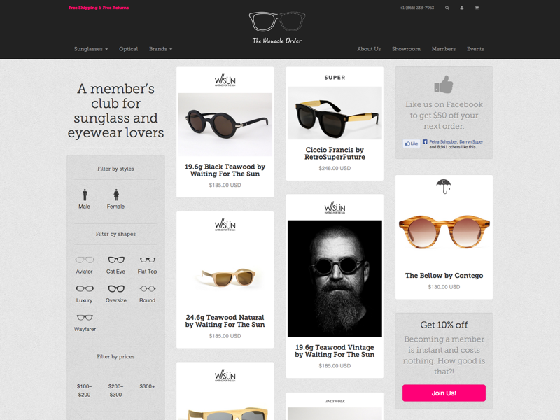 Sneak peek of Monocle Order's new Shopify site websites shopify masonry products texture