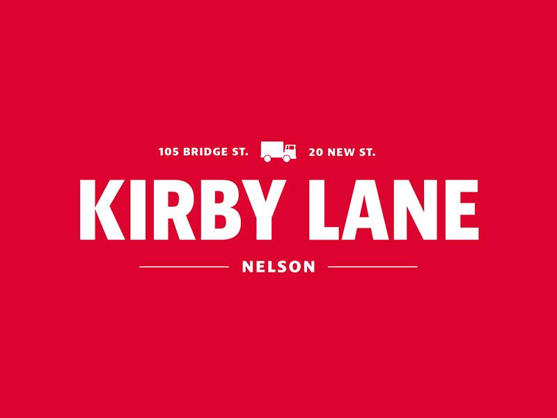 White on Red version of Kirby Lane Logo logos