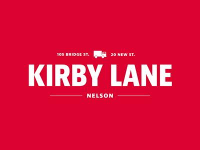 White on Red version of Kirby Lane Logo