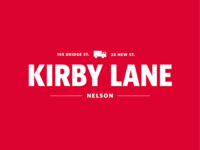 White on Red version of Kirby Lane Logo