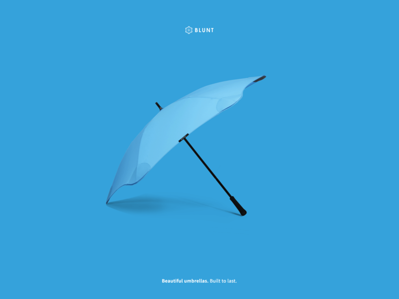 Blunt Umbrellas website design experiments ecommerce shopify minimalism ui design web design