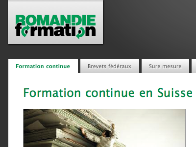 Romandie Formation website redesign logo banner gradients css3 subtle