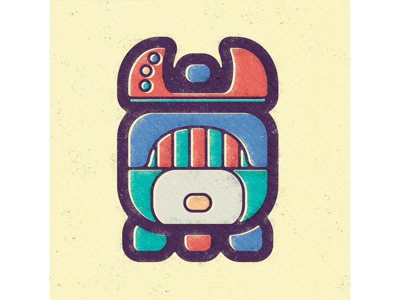 Mayan Calendar - Month 19 - Uayeb symbol vector discrepant antagonistic unequal prehispanic mesoamerica illustration hieroglyphics geometry civilization ancient maya vintage old style visual design calendar glyph