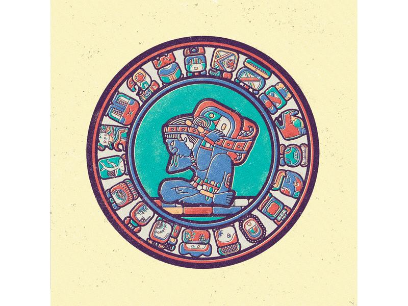 Mayan Calendar - Month 01 - Month 19 vector glyph shapes pattern tribal flat artwork minimal vintage symbol sign prehispanic culture civilization old style calendar maya hieroglyphics ancient illustration geometry