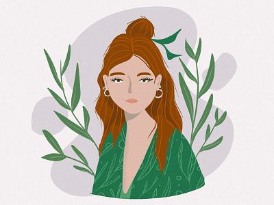 Portrait portrait illustration green women women empowerment portraits illustration girl design vector character