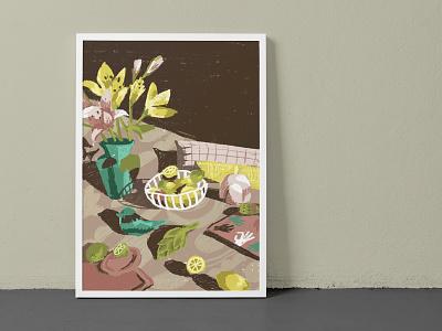 stillherestilllife procreate pastel lemon bird art painting flowers still-life stillherestilllife