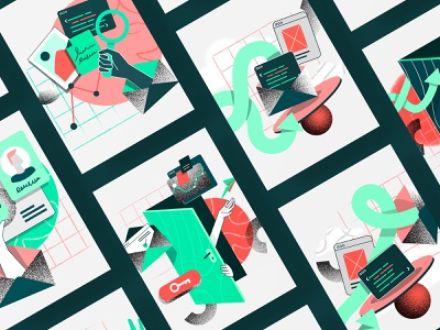 illustrations for CTA ux character abstract ui design illustration vector call to action
