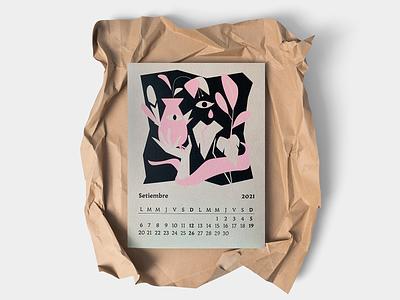 Caja baja Calendario 2021  Setiembre pantone illustraion eye birds naturals plants tinta serigrafia serigraphy calendar