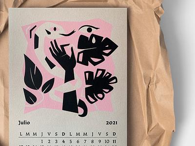 Caja baja _Calendario 2021 Julio calendar design pantone serigraphy serigraph calendar illustration