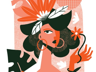 The flower girl serigraphy animation procreate flowers illustrations girl abstract illustration character