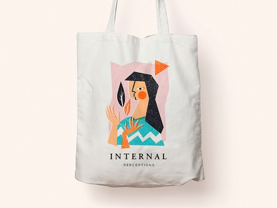 Bag Print internal color pastel girl ilustrations vector totebag