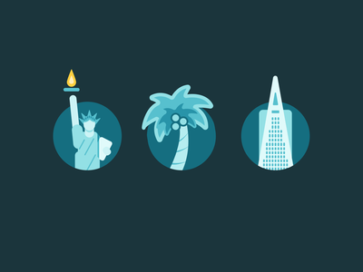 Work where you want branding icons icon palm palm tree sf nyc location landing page spot illustration design