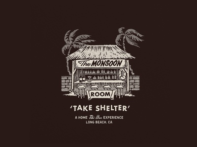 The Monsoon Room california long beach branding agency typography tiki bar logo visual identity illustration branding
