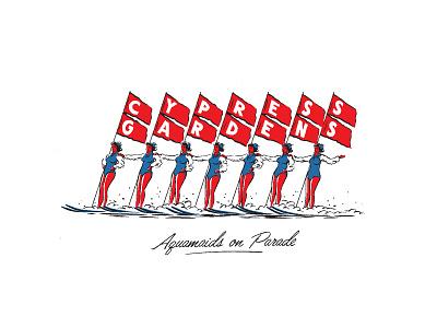 Cypress Gardens Skis branding agency visual identity illustration art procreate illustrator design art apparel lifestyle branding surf skate illustration